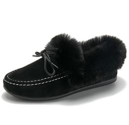 Canada bottes pour femmes chaudes et chaudes en peluche bottes de fourrure automne hiver bottes en fourrure noeud papillon bottes plates rembourrées en coton zv801 cheap womens flat snow boots Offre