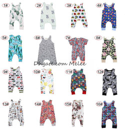 Wholesale Infants Rompers Baby Animal - INS Baby Dinosaur Print Rompers Multi Designs Boy Girls Cactus Forest Road Newborn Infant Baby Girls Boys Summer Jumpsuit Playsuits 0-2Y