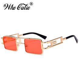 Wholesale Gothic Metal Fashion - WHO CUTIE 2018 Small Square Steampunk Sunglasses Cool Men Women Metal Frame Retro Vintage Gothic Sun Glasses Shades oculos OM515