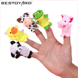 Wholesale Party Babys - Wholesale-2017 10PCS Farm Zoo Animal Finger Puppets Toys Boys Girls Babys Party Bag Filler NEW Kawaii Kids Stuffed Toys For Children Dolls