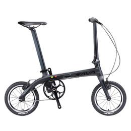 einzelfahrräder Rabatt Großhandel Faltrad Faltrad 14 Zoll Carbonrahmen Single-Speed Urban Bike Mini Stadt Faltbares Fahrrad mit Scheinwerfern