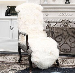 Wholesale Fur Carpet Rug - Soft Sheepskin Chair Cover Warm Hairy Carpet Seat Pad Plain Skin Fur Plain Fluffy Area Rugs Washable Bedroom Faux Mat Seat Pads