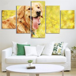 Posters perros online-Pinturas de la lona Decoración para el hogar 5 piezas Lindo Golden Retriever Posters Impresiones en HD Animal Dog Pictures Living Room Wall Art Framework