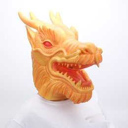 Wholesale Halloween Costumes Dragon - Halloween horror gold yellow Dragon Head Mask Adult Latex Animal Costume Party Carnival Men's Dragon Skeleton Mask Party prop