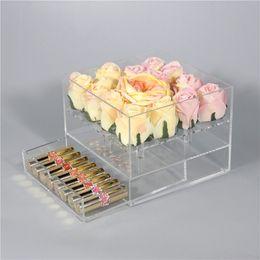 Новый прозрачный акриловый роза цветок коробка с ящиком макияж организатор День Святого Валентина свадебный подарок цветок ящик коробка с крышкой Оптовая от