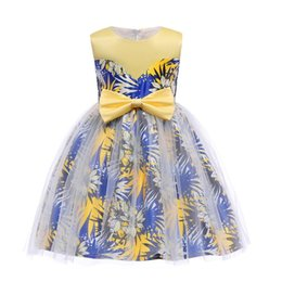 Wholesale knee length teen dresses - Wholesale-Fashion Flower Girl Teen Girls Summer Formal Printing Tulle Dress Sleeveless Evening Gown With Bowknot Party Dresses KA812