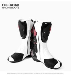 Sürme Kabile Mikrofiber Deri Motosiklet Boots Pro Biker HIZ Moto Motor Bike Yarış Ayakkabı Motocross Motosiklet Çizmeler nereden ayakkabı askı perçinleri tedarikçiler
