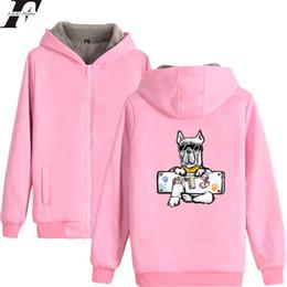 Wholesale 3xl Dog Clothing - LUCKYFRIDAYF 2018 BTS DOG New Design Hoodies Men Women Zipper Hoodies Sweatshirt Women Men Cotton Zipper Winter Thicken Clothes
