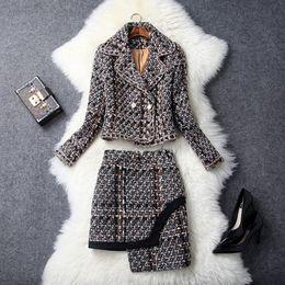 Wholesale Thin Lapel Piece Suits - 2018 Winter and Spring women's two piece sets coat dress,Thin plaid suit coat and irregular short skirt set,Fashion women's dress suit