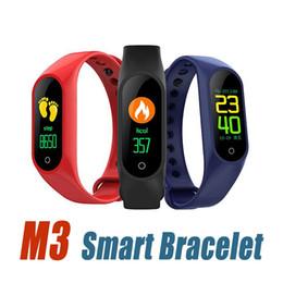 2019 rastreador de paquetes M3 Pulsera inteligente Rastreador de ejercicios Reloj inteligente con ritmo cardíaco Pulsera impermeable Podómetro Pulsera para IOS y Android Paquete minorista rebajas rastreador de paquetes