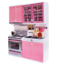 Wholesale Original Xmas Gifts - Original OCDAY Brand Kid Kitchen Pretend Play Cook Cooking Set Pink Cabinet Stove Fun Learning&Educational Toy Great Xmas Gift