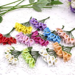 Wholesale Cheap Fake Flowers For Weddings - Cheap 12pcs Foam Multi-colored Artificial Flower For Wedding Home Decoration DIY Scrapbooking Decorative Wreath Fake Flowers
