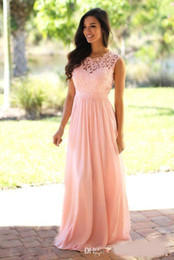 Mentas de chocolate oscuro online-Blush Pink / Mint / Dark Navy Lace Chiffon Vestido de dama de honor 2018 Sheer Neck Lace Top Zipper Back Maid of Honor prom Vestidos de invitados