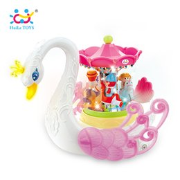 Wholesale Plastic Toy Birds - HUILE TOYS 536 Baby Toys Fantastic Swan Musical Toy with Light Electronic Learning Educational for Children Girls Gifts