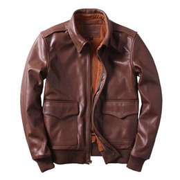 Wholesale A2 Leather - 2017 New Men Retro Dark Brown USAF A2 Leather Pilot Jacket Thick Leather Plus Size XXXXXXL Loose Aviator Coat FREE SHIPPING