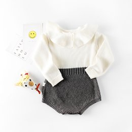 2018 Mode Printemps Infantile Bodys Newborn Pull Tricoté Barboteuses Patchwork Bébé Filles Vêtements À Manches Longues Combinaisons Lotus Feuille Col ? partir de fabricateur