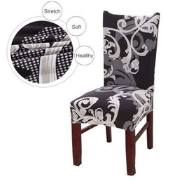 Wholesale vintage styling chairs - Vintage Dark Printing Dining Chair Cover Removable Elastic Banquet Folding Dining Room Chair Cover For Modern Kitchen Chair