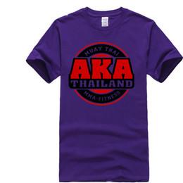 Wholesale Purple Mma Shorts - AKA Thailand Gymer Logo Muay Thai MMA Kick Boxer Men's White T-Shirt Size S-3XL 100% Cotton for Man T Shirts Personality