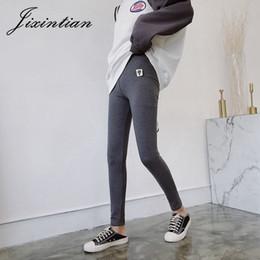 dibujos animados de mujer leggins Rebajas Jixintian otoño 2018 mujeres de cintura alta polainas de algodón de punto sólido pantalones de entrenamiento más elástico empuja hacia arriba delgado de dibujos animados Leggins