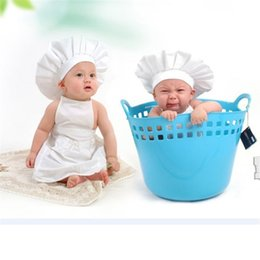Wholesale Hat Cooks - High quality Cute Baby White Cook Costume Photos Photography Prop Newborn Hat Apron otton Apron drop shipping