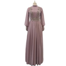 Vestidos de baile GiayMus Vestido de Madrin 2018 Vestidos de madre de la novia Tallas grandes de manga larga Vestidos de visitante de la boda con cuentas de gasa Dubai musulmán desde fabricantes