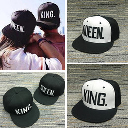 a893b970fd7c7 gold king snapback hat 2019 - KING QUEEN letter embroidery baseball Cap for  lovers Snapback Hats