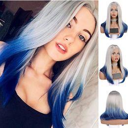 Новый стиль 2 тона серый Ombre синий парик Короткий боб синтетические кружева передние парики Glueless термостойкие прямые косплей парики для женщин от