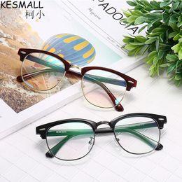 KESMALL 2017 Classic TR90 Gafas Ultraligeras Marco Mujeres Hombres Moda Anteojos Marcos Miopía Gafas Medio Marco Oculos BY331 desde fabricantes