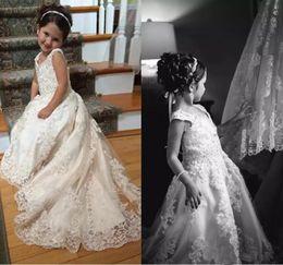 Wholesale Little Princess Flower Girl Dresses - 2018 Lace Flower Girls Dresses For Wedding Spaghetti Appliques Formal Girls Pageant Dresses Little Girls Birthday Communion Christmas Gowns