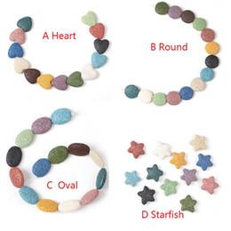 Herz Seestern Kreis Oval natürliche Lava Rock Stein Perlen DIY ätherisches Öl Diffusor Anhänger Schmuck Halskette Ohrringe machen von Fabrikanten