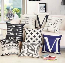Almohadas de tiro negro para el sofá online-45 * 45 cm decorativo nuevo diseño negro blanco abstracto geométrico Throw Pillowcase funda de almohada para sofá