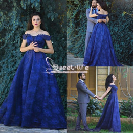 Wholesale New Arrivals Runway - 2018 Royal Blue Off Shoulder Evening Dresses Lace A-Line Prom Dresses Back Zipper Sweep Train Formal With Applique New Arrival Party Gowns