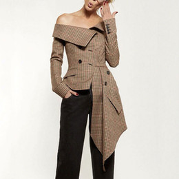 Abiti da ufficio donna online-2018 Nuove donne autunno Blazers cappotto manica lunga asimmetrico Plaid New Slash Neck Lady Office giacche marroni cappotto abiti casual