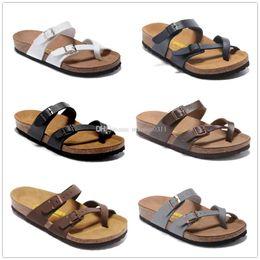 Wholesale Dark Brown Leather Heels - Mayari Arizona Gizeh 2017 Hot sell summer Men Women flats sandals Cork slippers unisex casual shoes print mixed colors size 34-46