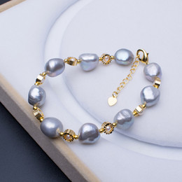 Wholesale Gray Baroque Pearls - Baroque pearls Bracelets Wholesale 2018 design Smoke grey irregular Pearl Bangle Gold plate Bracelet For women fashion jewelry accessories
