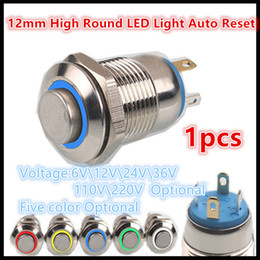 Wholesale Round Push Button Switches - 12mm High Round Colorful LED Light Shine Car Horn Auto Reset Waterproof Momentary Stainless Steel Metal Push Button Switch