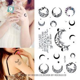 2019 черная флеш-бумага Боди-арт водонепроницаемый временные татуировки бумага для мужчин, женщин простой черный луна дизайн флэш татуировки наклейки HC1171 дешево черная флеш-бумага