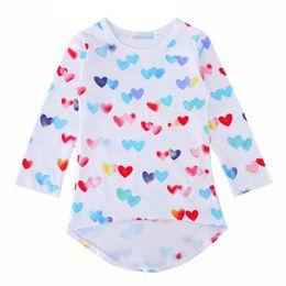 Wholesale Cheap Girls Outfits - Valentine Girls Dress Heart Shape Prints Jersey Dresses for Children Vestio Infantil Boutique Girls Valentines Outfits Girls Clothes Cheap