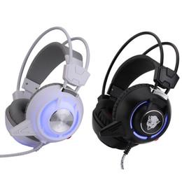 Oyun Kulaklık Stereo Bas Aşırı Kulak Oyun Bilgisayar PC Gamer için Işık ile Titreşimli Kulaklık Kafa nereden yüksek bas kulaklıklar tedarikçiler