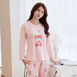 e762a3ff67 Autumn Female Pink Pajamas Cotton Long Sleeve Cartoon Cute Sleepwear Suit  Casual Pullover Loose Winter Women Sweet Pajama Sets