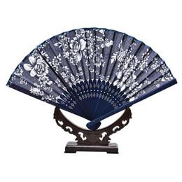 Argentina 2018 Folding Hand Fan Fabric Floral Wedding Dance Favor Favor del bolsillo Fan Fans chinos Ventilador clásico 20pcs Suministro