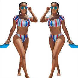 751b567ce78ac 2018 New summer women striped Split swimsuit Bathing Swim Suit sexy bodycon  bikini Leisure two-piece Swimwear Cute Tankini Monokini