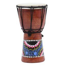 Malerei afrikanisch online-4 Zoll Afrikanische Trommel Percussion Kid Spielzeug Klassische Gemalte Hölzerne Afrikanische Handtrommel Für Kinder Spielzeug-MUSIK