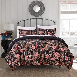 Wholesale Quilt Cover Double Size - Floral Printed Bedding Set Tencel Cotton Duvet Quilt Cover Set Single Double Europe Family Twin Queen King Size Bed Set Bed Line