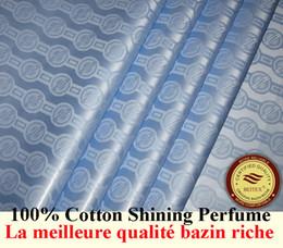 Germany Quality Jacquard Damask Sky Blue Bazin Riche Guinea Brocade African Garment Cotton Fabric African Garment Fabric 100% Cotton