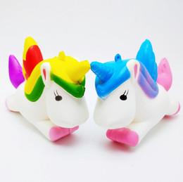 Wholesale fly charm - High quality Squishy Novelty GAG TOYS Flying Jumbo Unicorn Pony Horse Kid Toys Squishy Slow Rising Cream PU Foam Decompression toys DHL Free