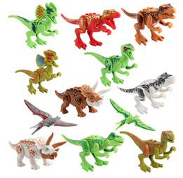 12 Pçs / set Dinossauro Dinossauro Raptor Blocos de Construção Tijolos de Brinquedo Tyrannosaurus Rex Compatível Blocos de Construção Set Crianças Brinquedos de