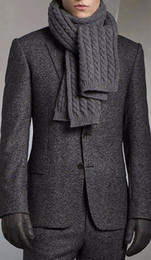 Wholesale Charcoal Grey Wool Suit - Charcoal Grey Brushed Wool Blend Suits For Winter Tailored Fit Warm Suits For Winter,Custom Made Heavy Wool Blend Men