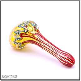 Wholesale heavy spoon - Fumed glass pipe hand pipes deep bowl silver-fumed heavy triple blown gorgeous multi-colored glass pipe for smoking spoon pipes