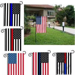 bandiera americana blu Sconti 30 * 45cm BlueLine USA polizia Bandiere della decorazione del partito Thin Blue Line USA Flag nero, bianco e blu e American Flag Garden Flag 572